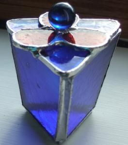 Blue triangular box